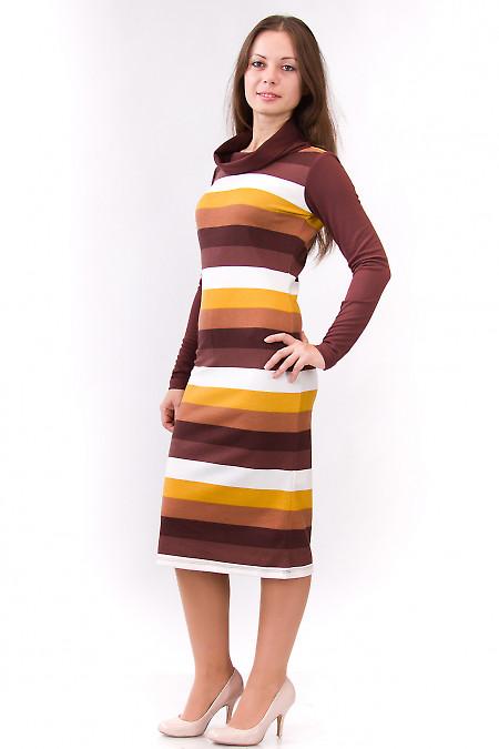 Фото Платье теплое в коричневую полоску Деловая женская одежда