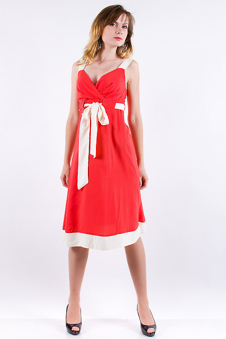 Фото Сарафан коралловый с бежевыми вставками Деловая женская одежда