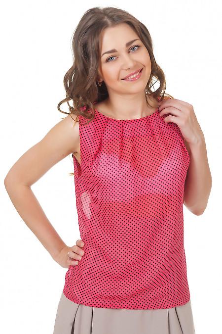 Топ розовый в черный горошек Деловая женская одежда