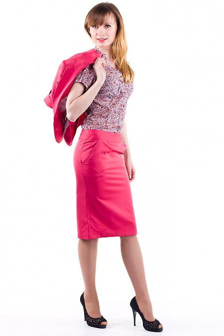 Фото Юбка-карандаш коралловая Деловая женская одежда
