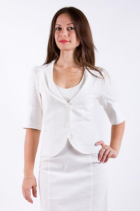 Фото Жакет льняной с рукавом в три четверти Деловая женская одежда