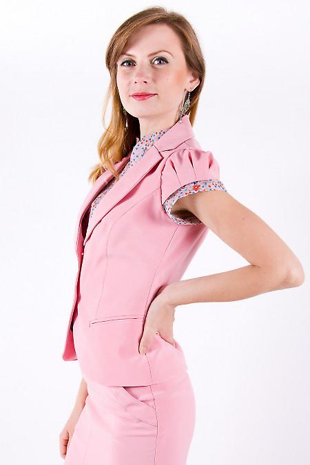 Фото Жилетка розовая с круглым вырезом Деловая женская одежда