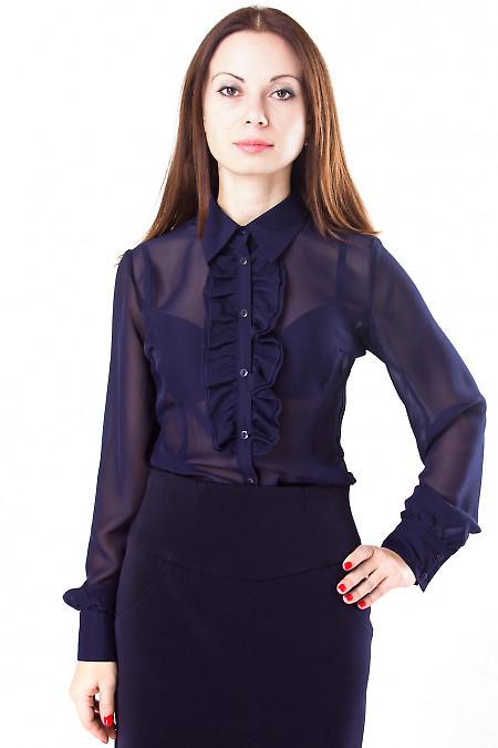 Фото Блузка из шифона темно-синяя Деловая женская одежда