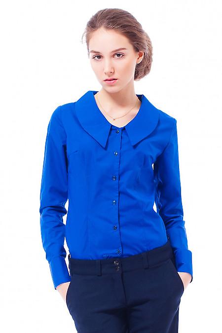 Купить блузку синюю с острым воротником Деловая женская одежда