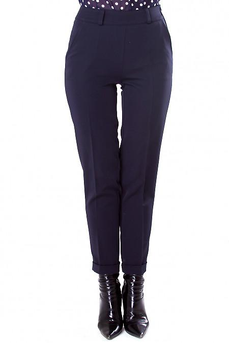 Фото Брюки темно-синие с молнией сбоку Деловая женская одежда