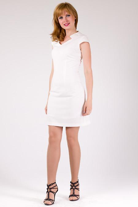 Фото Платье молочное со стойкой Деловая женская одежда