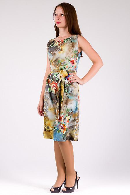 Фото Платье с защипами в крупные цветы Деловая женская одежда