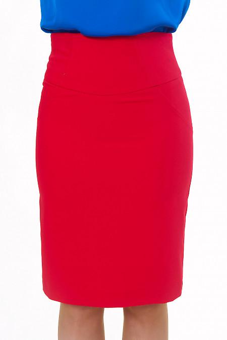 Юбка красная с высокой талией Деловая женская одежда