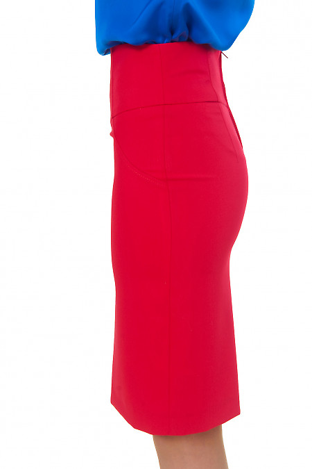 Купить красную юбку с высокой талией  Деловая женская одежда