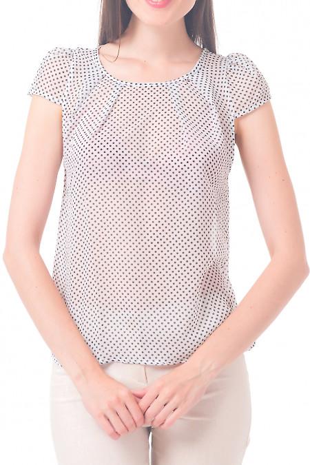 Блузка белая в горошек с рукавчиком Деловая женская одежда