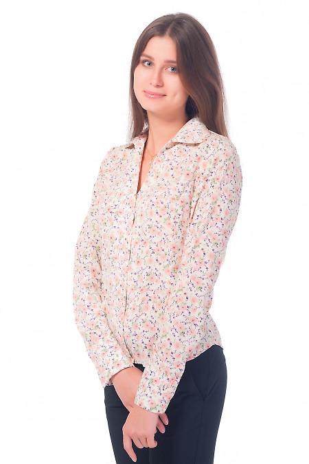 Купить блузку молочную в розовые цветочки Деловая женская одежда