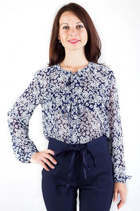 Фото Блузка с завязками в цветочки Деловая женская одежда