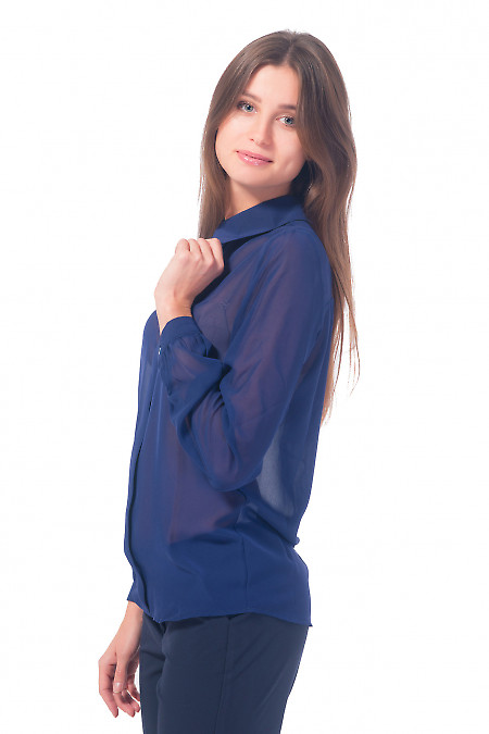 Купить темно-синюю блузку с планочкой Деловая женская одежда