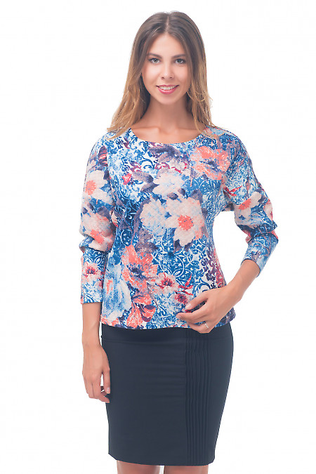 Джемпер из стеганой разноцветной ткани Деловая женская одежда