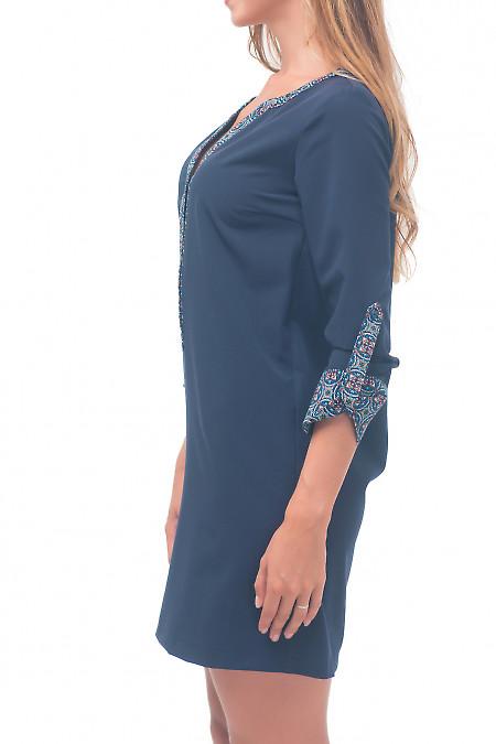 Купить платье синее с цветной планкой Деловая женская одежда