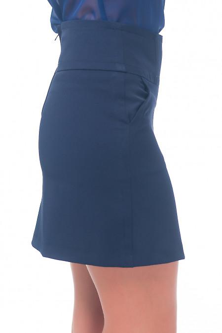 Купить юбку-трапецию синюю с карманами Деловая женская одежда