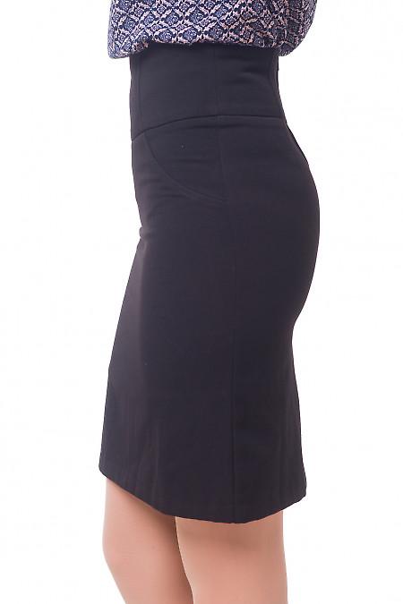 Купить юбку черную теплую с рельефами Деловая женская одежда
