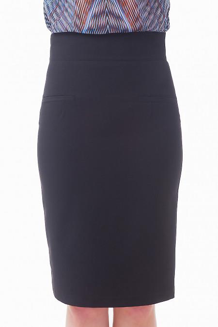 Юбка миди черная с карманами Деловая женская одежда