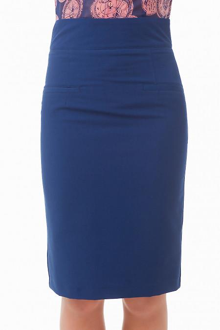 Юбка миди синяя с карманами Деловая женская одежда