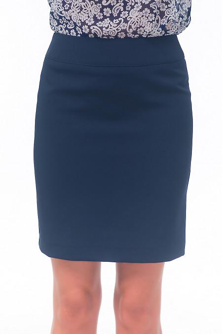 Юбка синяя короткая без карманов Деловая женская одежда