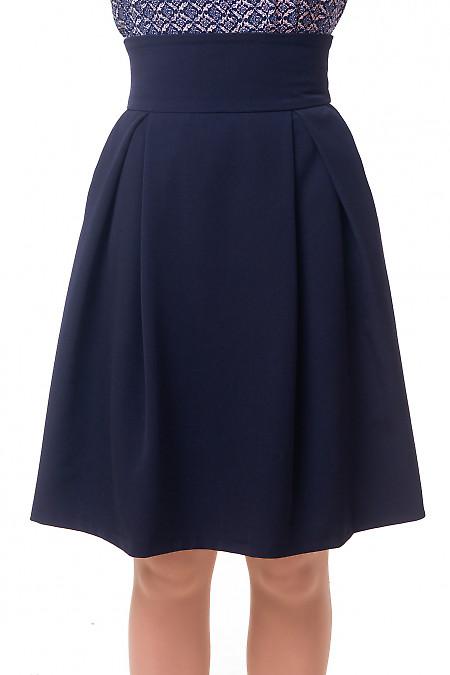 Юбка синяя пышная с высокой талией Деловая женская одежда