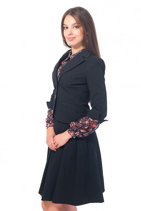 Купить жакет черный с разрезом на рукаве Деловая женская одежда