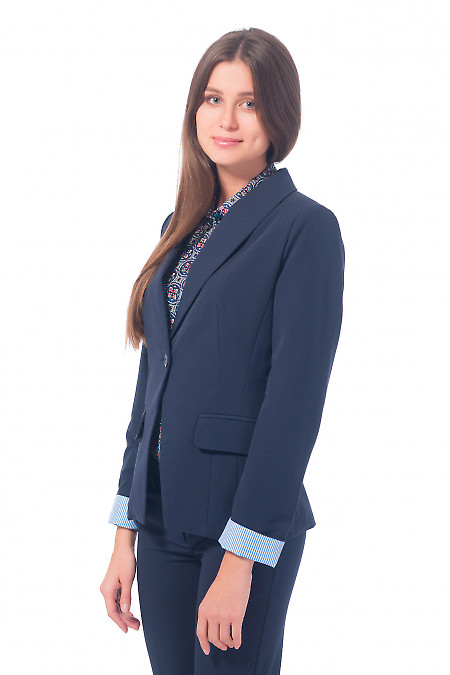 Купить жакет удлиненный синий с полосатой манжетой Деловая женская одежда