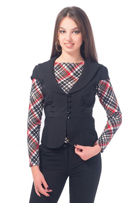 Жилетка черная с защипами впереди Деловая женская одежда