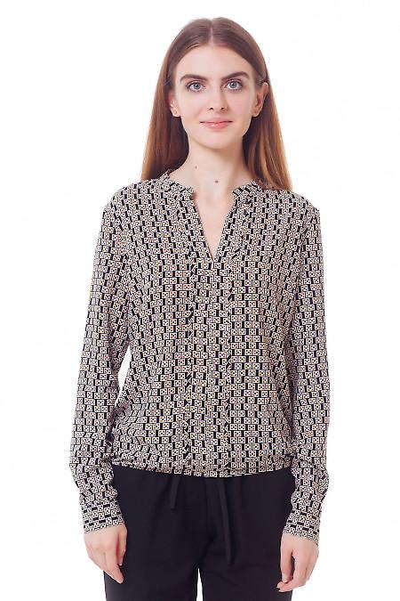 Блузка черная в коричневый квадратик Деловая женская одежда