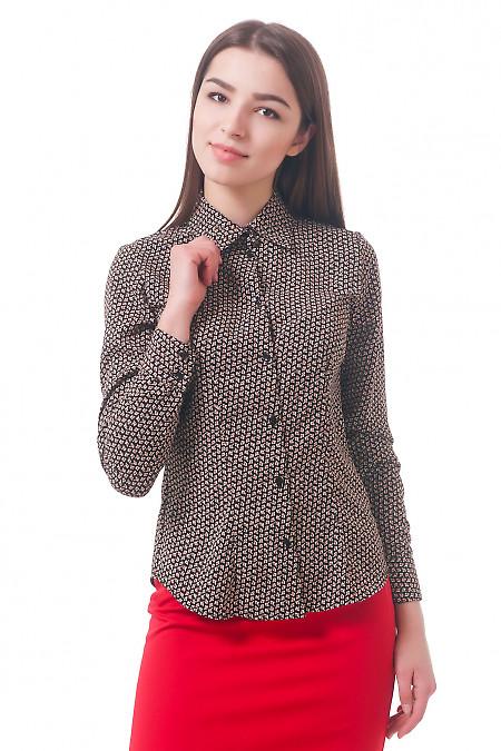 Фото Блузка коричневая в мелкий цветочек Деловая женская одежда