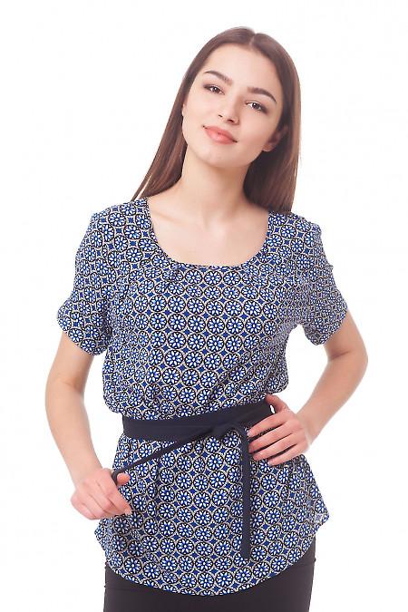 Купить блузку с защипами в синие ромашки Деловая женская одежда