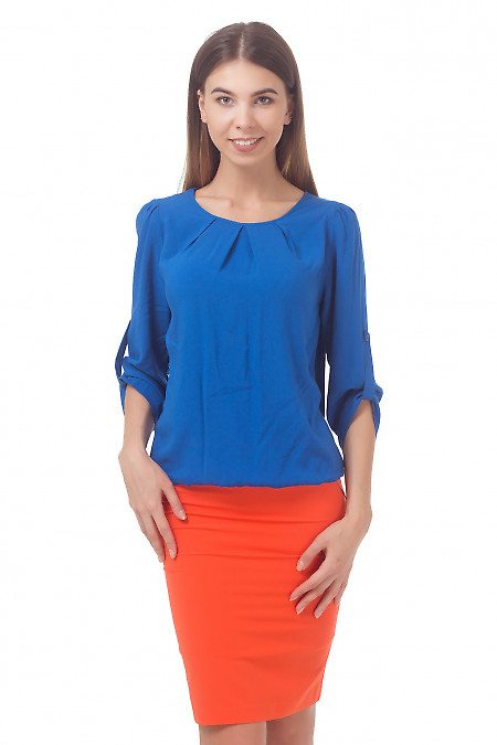 Блузка синяя с защипами и патой на рукаве Деловая женская одежда