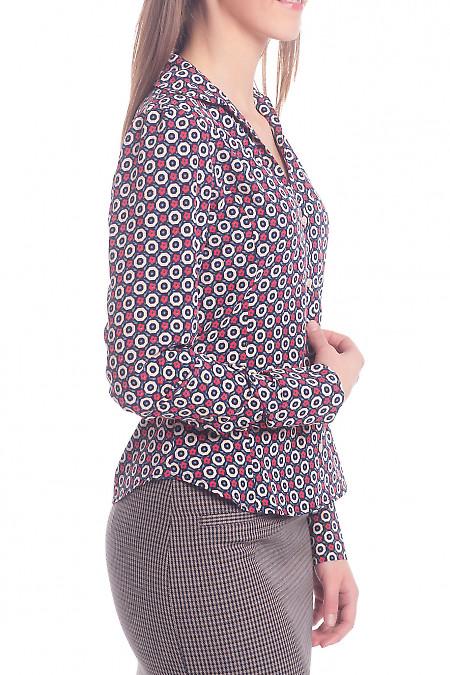 Купить блузку синюю в бежевый кружочек Деловая женская одежда