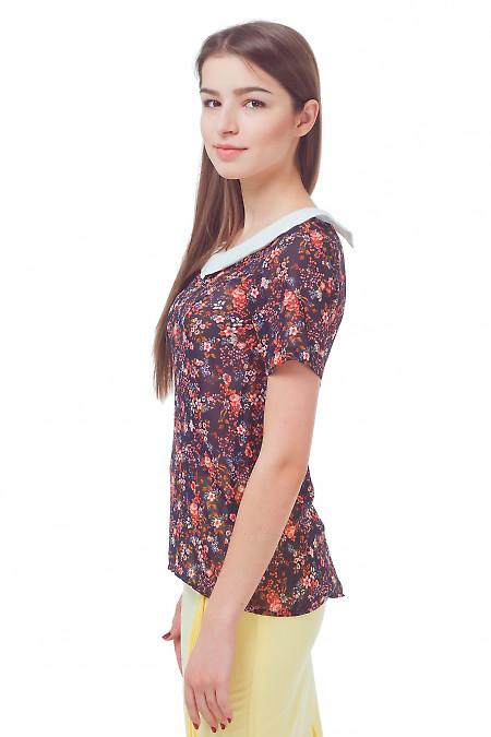 Купить блузку в цветочек с белым воротником Деловая женская одежда