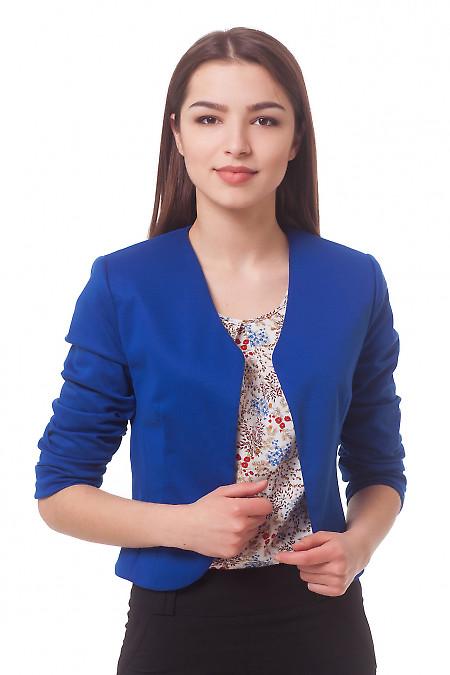 Болеро трикотажное ярко-синее Деловая женская одежда