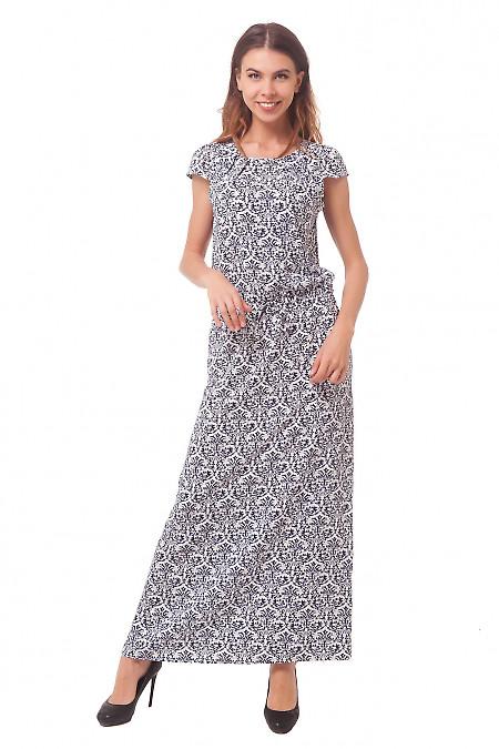 Длинное белое платье в синий узор Деловая женская одежда
