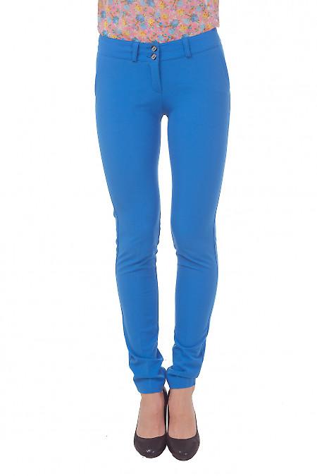 Голубые женские зауженные брюки Деловая женская одежда