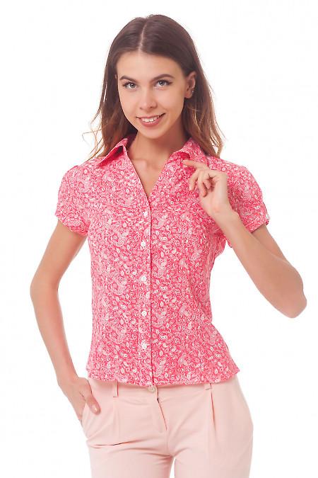 Коралловая блузка в белый узор Деловая женская одежда