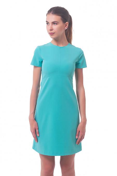 Платье бирюзовое с коротким рукавом Деловая женская одежда