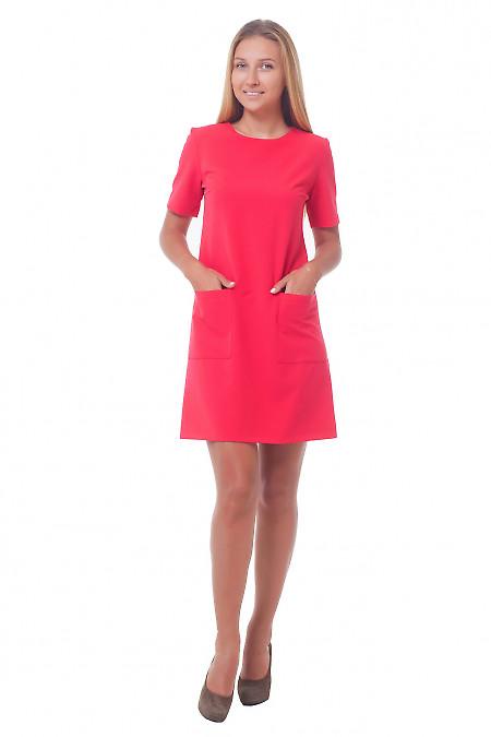 Купить платье красное с накладными карманами Деловая женская одежда