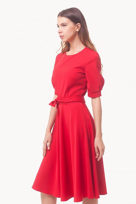 Купить платье красное с рукавом и поясом Деловая женская одежда