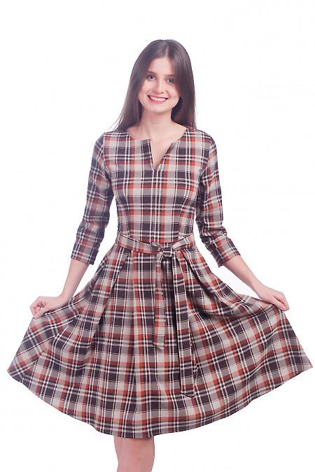 Фото Платье пышное в клетку Деловая женская одежда