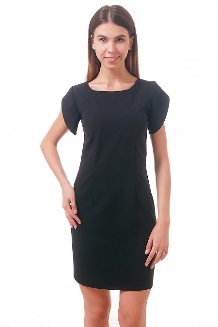 Фото Платье с рукавом тюльпан черное Деловая женская одежда