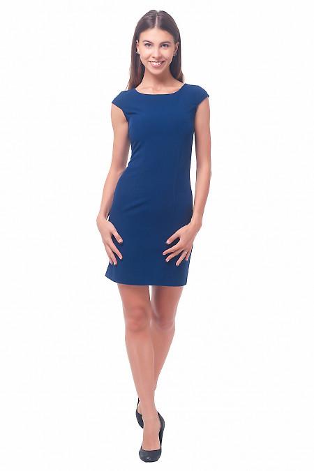 Купить платье синее строгое с рукавчиком Деловая женская одежда