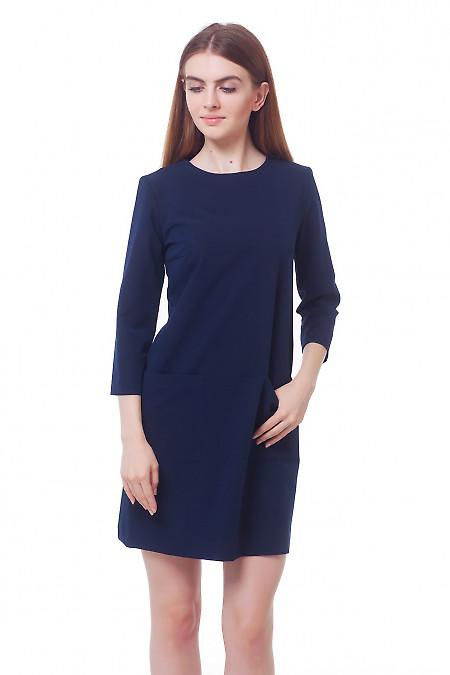 Платье темно-синее с накладными карманами Деловая женская одежда