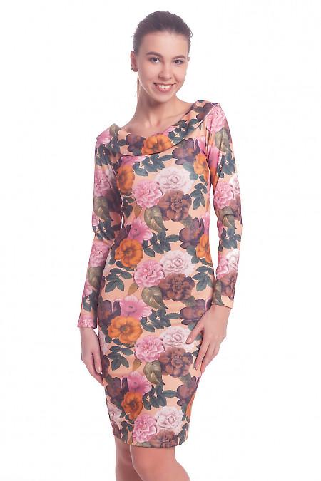 Платье в цветы с открытой спиной Деловая женская одежда