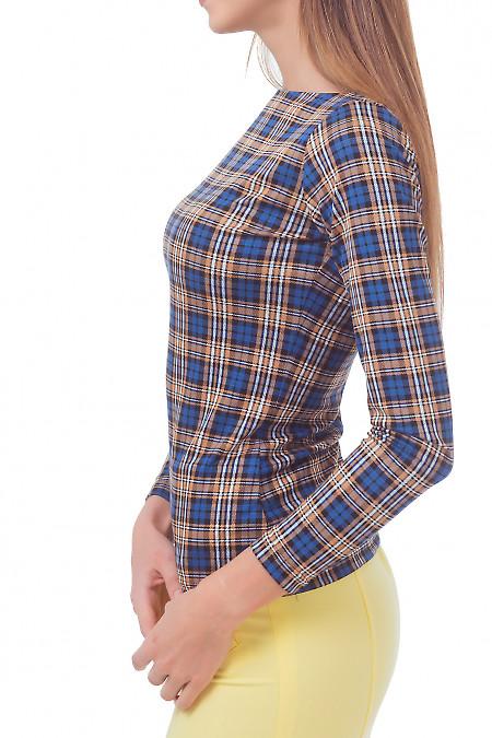 Купить тунику трикотажную в синюю клетку Деловая женская одежда