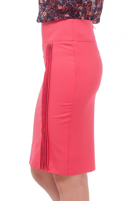 Купить юбку коралловую с вертикальными защипами Деловая женская одежда
