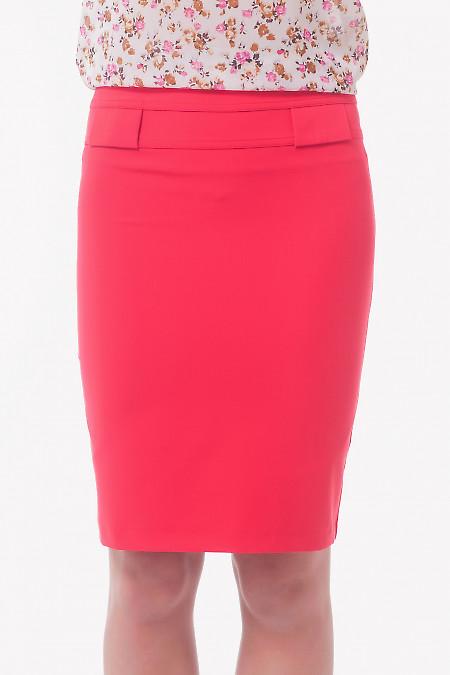 Юбка красная с двойным поясом Деловая женская одежда
