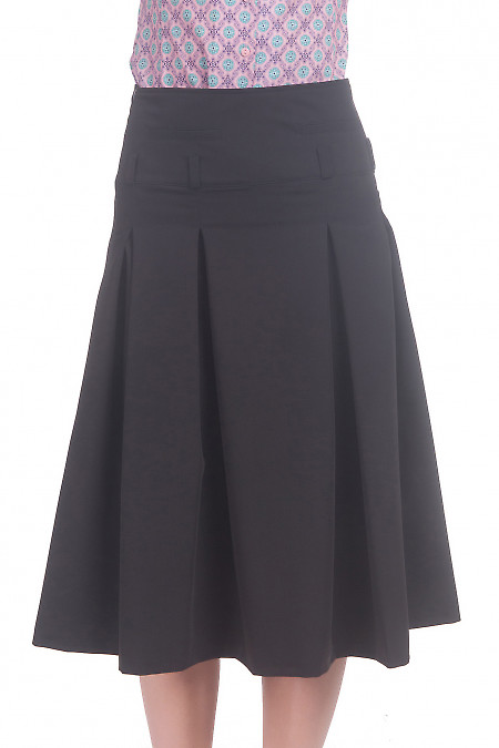 Фото Юбка миди со складками черная Деловая женская одежда